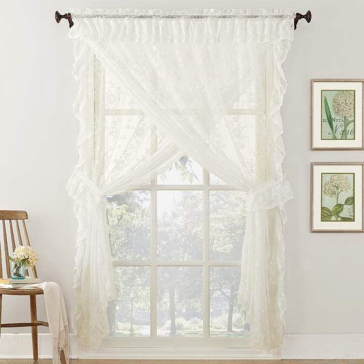 Popular Photo of Elegant White Priscilla Lace Kitchen Curtain Pieces