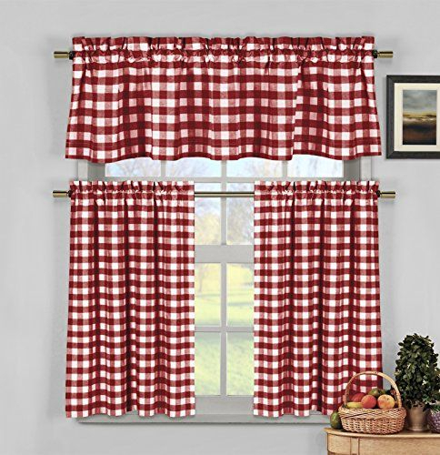 How To Update Your Kitchen For Less – Using Red Kitchen Within Classic Navy Cotton Blend Buffalo Check Kitchen Curtain Sets (View 19 of 30)