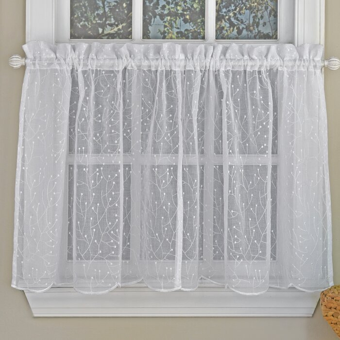 """Howarth Floral Spray Semi Sheer Kitchen 55"""" Window Valance Intended For Floral Embroidered Sheer Kitchen Curtain Tiers, Swags And Valances (View 27 of 50)"""