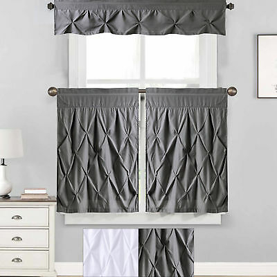 "Hudson Pintuck Window Curtain Valance (12""x60) Grey – $ (View 9 of 30)"