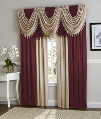 Hyatt Curtain Set Burgundybeige Curtains In 2019 Curtains Throughout Dakota Window Curtain Tier Pair And Valance Sets (View 22 of 30)