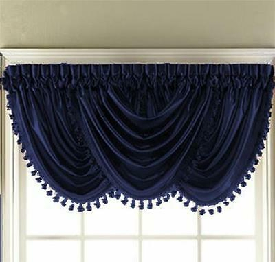 Hyatt Fringe Waterfall Valance Luster Crinkled Window Inside Floral Watercolor Semi Sheer Rod Pocket Kitchen Curtain Valance And Tiers Sets (View 15 of 50)