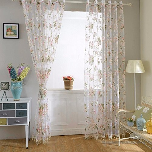 Iefiel Luscious Floral Pattern Voile Curtains Panel Window Pertaining To Floral Pattern Window Valances (View 24 of 50)