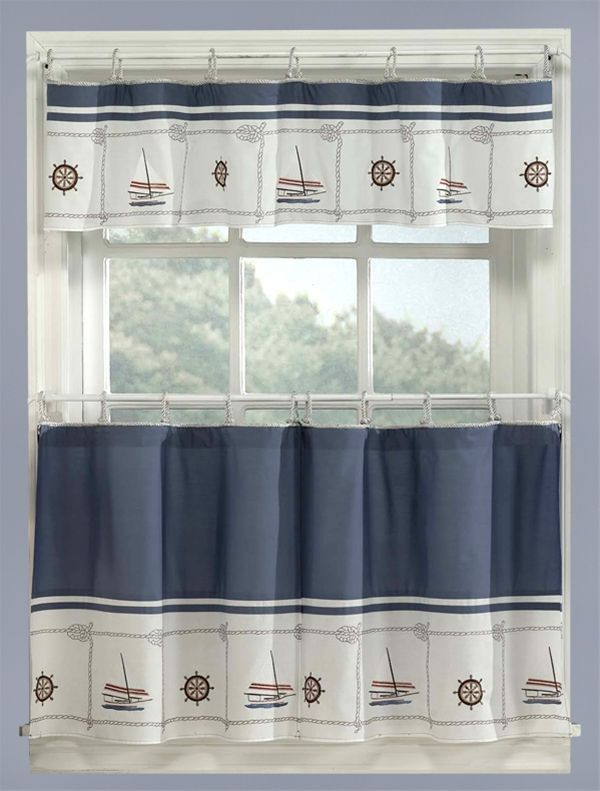 Image Detail For  Blue Nautical Curtains Valance + Tiers Set For Coastal Tier And Valance Window Curtain Sets (View 13 of 30)
