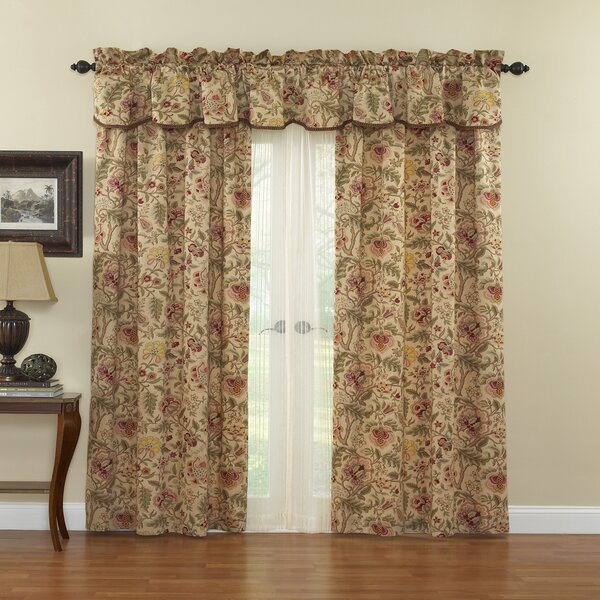 Imperial Dress Curtains | Wayfair Throughout Imperial Flower Jacquard Tier And Valance Kitchen Curtain Sets (#28 of 46)