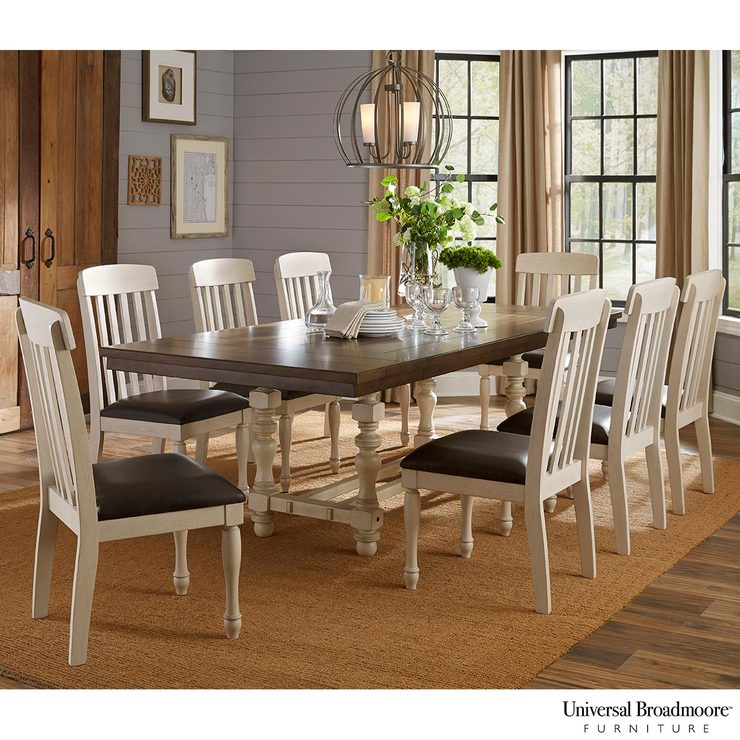 Ingred Extending Dining Tables In Most Recent Universal Broadmoore Extending Dining Room Table + 8 Chairs (View 9 of 20)