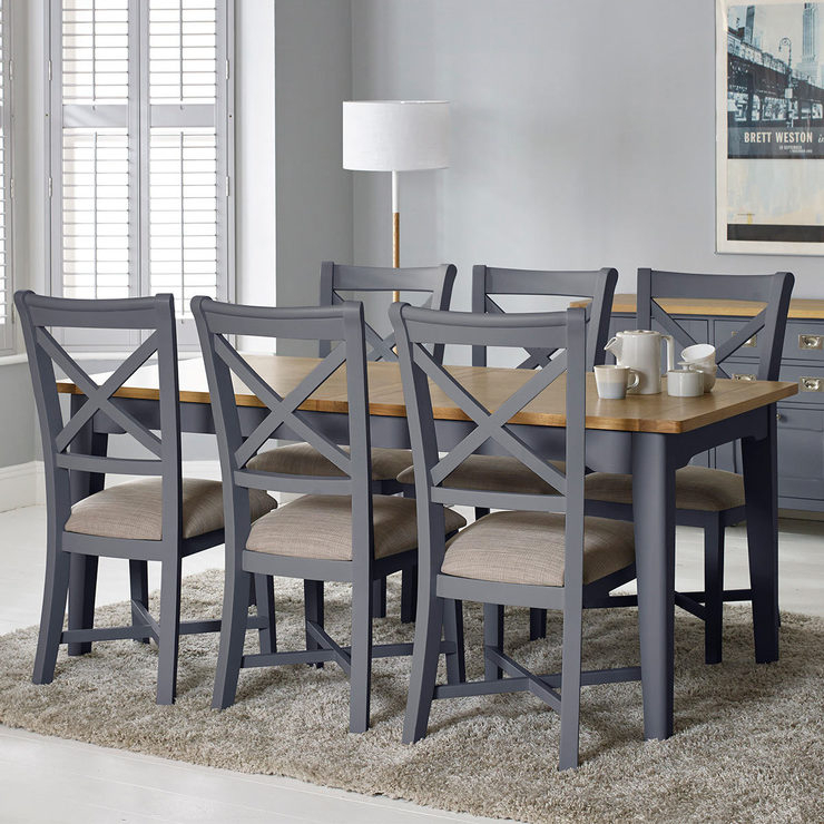 Inspiration about Ingred Extending Dining Tables Regarding Well Known Bordeaux Painted Taupe Large Extending Dining Table + 6 Chairs, Seats 6 8 (#19 of 20)