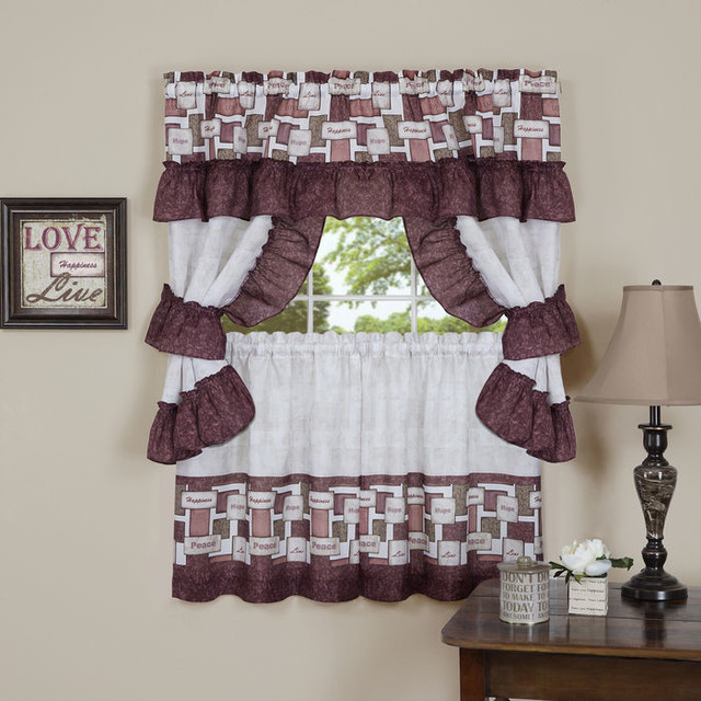 """Inspiration about Inspiration Cottage Set 57""""x24"""" Tier Pair/57""""x36"""" Ruffled Topper Regarding Live, Love, Laugh Window Curtain Tier Pair And Valance Sets (#45 of 50)"""