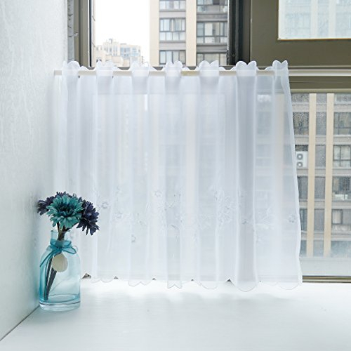 """Isino 1 Piece Rod Pocket Embroidered Cafe Curtain Sheer Voile Kitchen Tier  Curtain W 47"""" X H 17"""" White For Embroidered Rod Pocket Kitchen Tiers (View 22 of 49)"""
