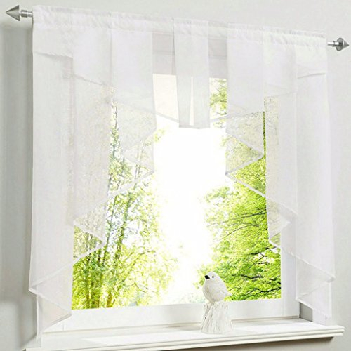 Isino 1 Piece Rod Pocket Sheer Voile Swag Roman Shade Regarding Semi Sheer Rod Pocket Kitchen Curtain Valance And Tiers Sets (View 15 of 30)