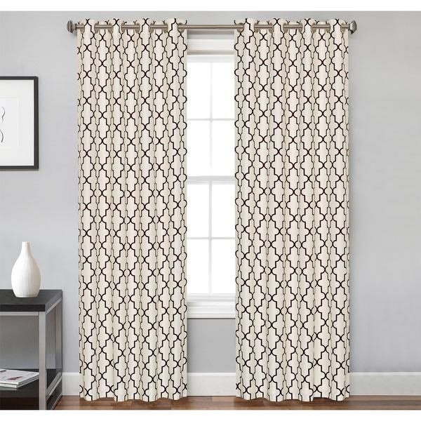 Inspiration about Ivory And Brown Trellis Pattern Curtain Panel Inside Trellis Pattern Window Valances (#45 of 50)