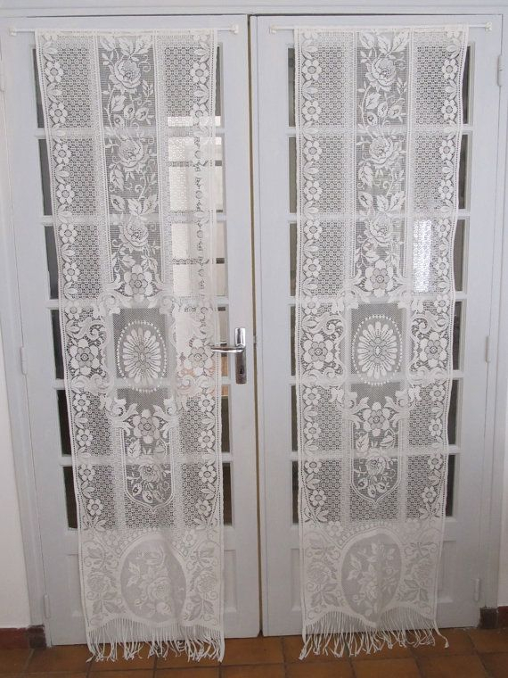 Inspiration about Ivory French Door Lace Curtains Cream Lace With Regard To Ivory Knit Lace Bird Motif Window Curtain (#19 of 50)