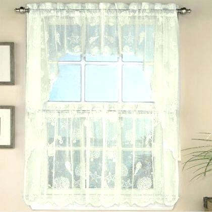 Ivory Lace Nautical Reef Tier Curtain Bathroom Curtains For Inside Modern Subtle Texture Solid White Kitchen Curtain Parts With Grommets Tier And Valance Options (View 9 of 50)