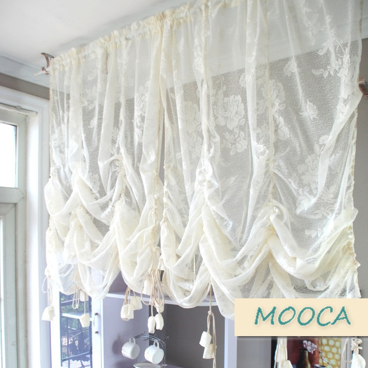 Ivory White Ruffled Lace Curtain Pull Up Decoration Curtain Regarding Cotton Blend Classic Checkered Decorative Window Curtains (View 17 of 30)