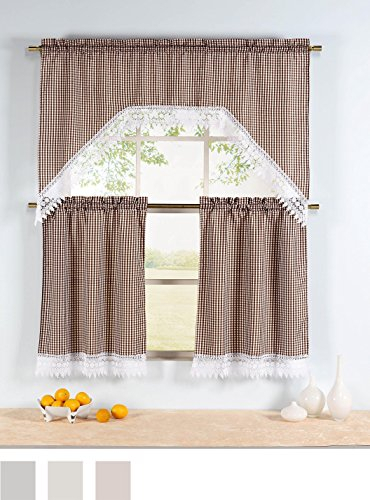 Ivory White Sheer French Door Curtain Panelsvangao Set With Faux Silk 3 Piece Kitchen Curtain Sets (View 25 of 44)
