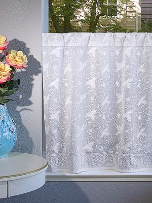 Ivy Lace ~ Country Cottage Sheer White Curtain Panel | Other With Regard To Cottage Ivy Curtain Tiers (View 8 of 49)