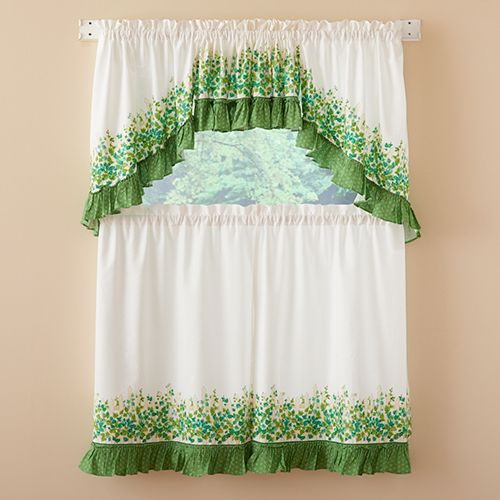 Ivy League Print Tier Curtains | Decorator Ideas | Tier Inside Cottage Ivy Curtain Tiers (#34 of 49)