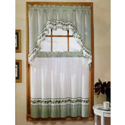 """Ivy Print 36"""" Swag Kitchen Curtain Setunitedunited In Cotton Blend Ivy Floral Tier Curtain And Swag Sets (View 23 of 30)"""