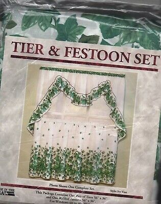 "Ivy Vine Tier & Festoon Kitchen Curtain Set #3962 Green White 56"" X 36"" 