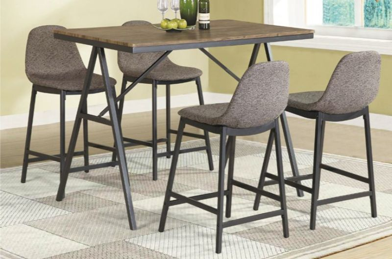 James Adjustables Height Extending Dining Tables For 2019 5 Pc James Brennan Medium Brown Finish Wood And Metal Frame Counter Height  Dining Table Set (#4 of 20)
