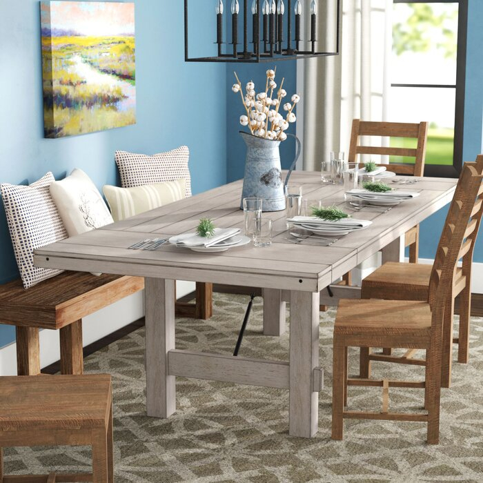 James Adjustables Height Extending Dining Tables Inside Fashionable Beachem Extendable Solid Wood Dining Table (#6 of 20)