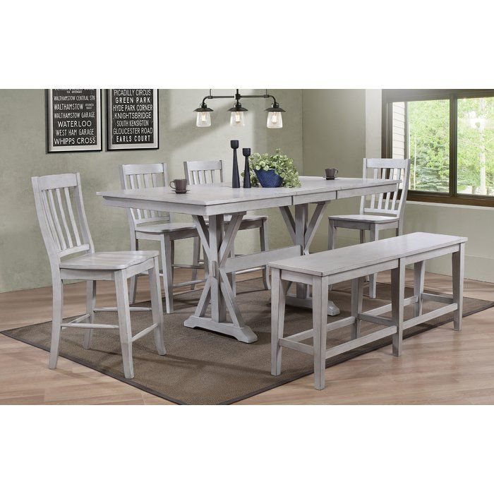 James Adjustables Height Extending Dining Tables Intended For Well Known Clennell 6 Piece Pub Table Set In  (#7 of 20)
