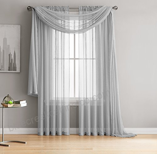 Jane – Rod Pocket Semi Sheer Curtains – 2 Pieces – Total Throughout Semi Sheer Rod Pocket Kitchen Curtain Valance And Tiers Sets (View 25 of 30)