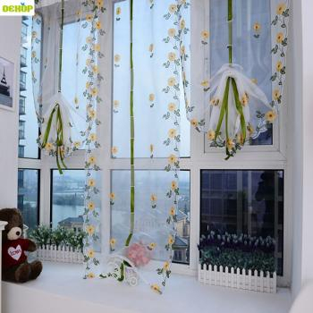 Japanese Style Embroidered Cafe Curtain Flora Linen For Embroidered Ladybugs Window Curtain Pieces (View 17 of 50)