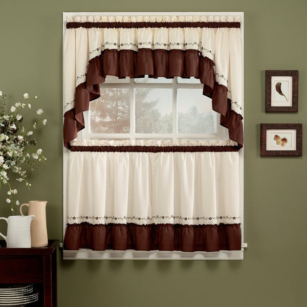Jayden Chocolate 5 Piece Curtain Tier And Swag Set For Grace Cinnabar 5 Piece Curtain Tier And Swag Sets (View 2 of 30)
