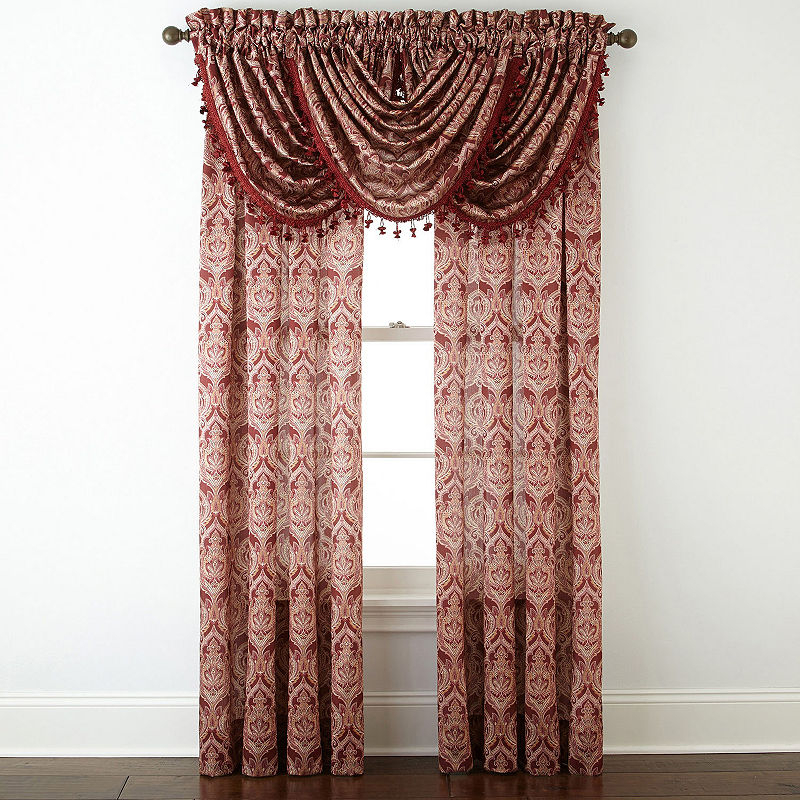 Jcpenney Home Hilton Damask Light Filtering Rod Pocket Intended For Luxury Light Filtering Straight Curtain Valances (View 32 of 47)