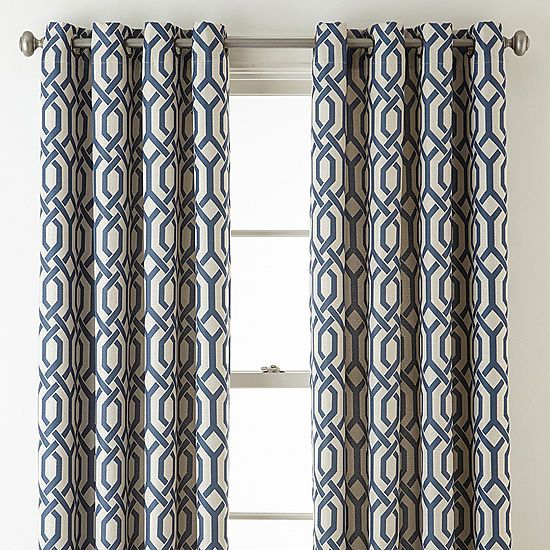 Jcpenney Home Pasadena Print Blackout Grommet Top Curtain In Pastel Damask Printed Room Darkening Kitchen Tiers (#26 of 50)