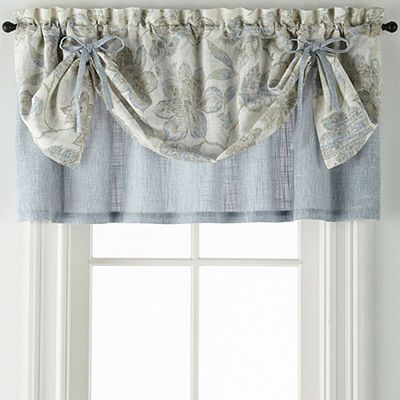 Jcpenney Home Sullivan Floral Layered Rod Pocket Tailored Throughout Floral Lace Rod Pocket Kitchen Curtain Valance And Tiers Sets (View 17 of 50)