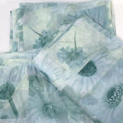 Jcpenney Peacock Floral Teal 3 Pc Semi Sheer Drapery Panels And Scarf  Valance   Ebay Regarding Floral Watercolor Semi Sheer Rod Pocket Kitchen Curtain Valance And Tiers Sets (View 17 of 50)