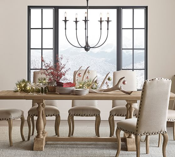 "Jerome Chandelier, Plug In, Bronze/iron, 30"" Diameter Regarding Well Known Gray Wash Lorraine Extending Dining Tables (#14 of 20)"