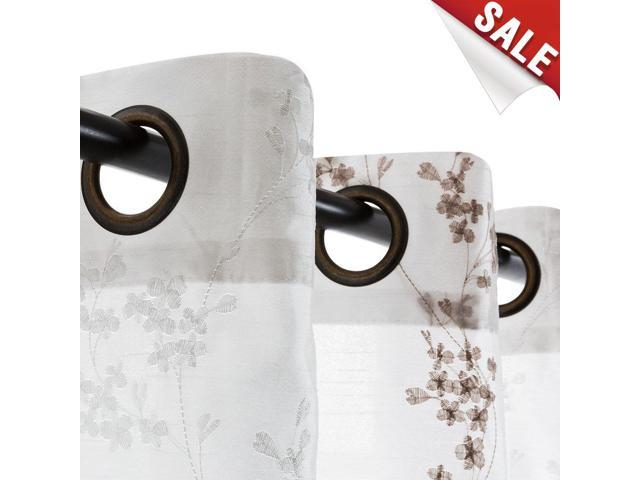 """Jinchan Faux Silk Floral Embroidered Sheer Curtains For Bedroom Embroidery  Curtain For Living Room, 2 Panels, 84"""" White – Newegg Regarding Floral Embroidered Faux Silk Kitchen Tiers (View 37 of 50)"""
