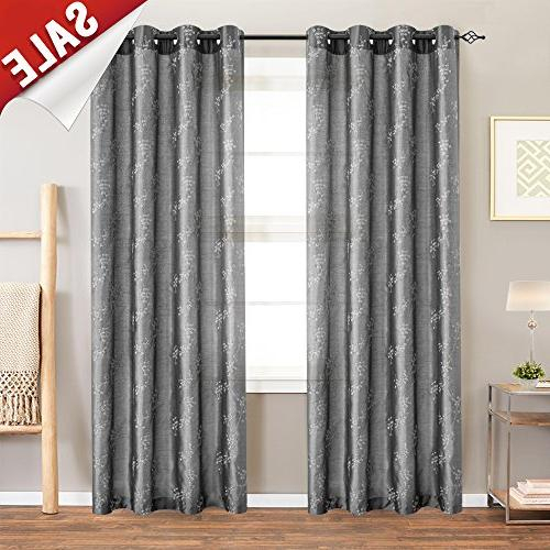 Jinchan Floral Embroidered Curtains For Bedroom Faux Silk For Floral Embroidered Faux Silk Kitchen Tiers (View 38 of 50)