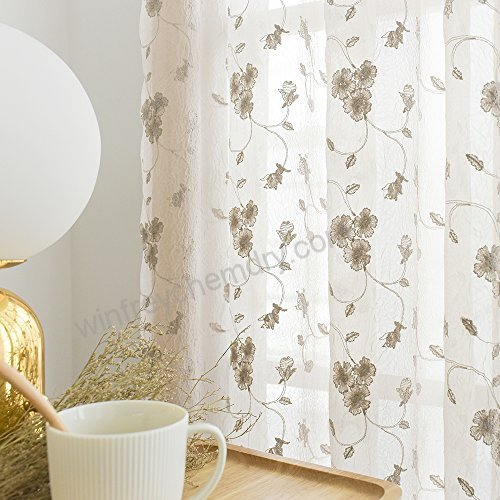 Jinchan Floral Embroidery Sheer Window Curtains For Bedroom Intended For Embroidered Rod Pocket Kitchen Tiers (View 24 of 49)