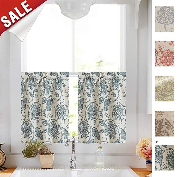 Jinchan Tiers Curtains Floral Scroll Printed Linen Drapes With Pastel Damask Printed Room Darkening Kitchen Tiers (#27 of 50)