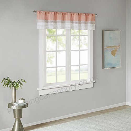 Jla Home Inc Amherst Polyoni Pintuck Window Valance Coral 50 Intended For Pintuck Kitchen Window Tiers (#18 of 43)