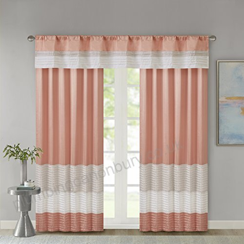Jla Home Inc Amherst Polyoni Pintuck Window Valance Coral 50 Pertaining To Pintuck Kitchen Window Tiers (#19 of 43)