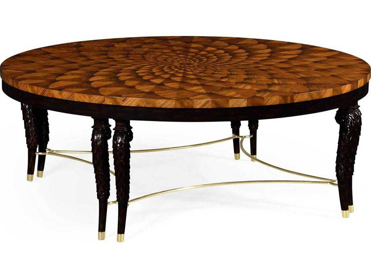 Jonathan Charles Icarus Medium Zebrano Feather Inlay Hand Carved Coffee  Table With Brass Stretcher Inside 2020 Icarus Round Bar Tables (#13 of 20)
