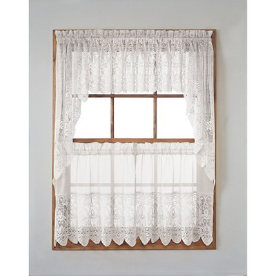 "Joy Classic Lace Kitchen Curtain Tier Pair White (30""x24 Pertaining To Classic Kitchen Curtain Sets (View 27 of 50)"