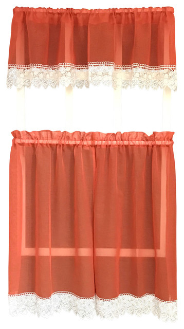 Julia Rustic Kitchen Curtains, Burnt Orange, Sheer With Macrame Lace Throughout Sheer Lace Elongated Kitchen Curtain Tier Pairs (#14 of 30)