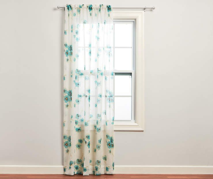 Just Home Nikita Aegean Crushed Voile Sheer Curtain Panel Intended For Pastel Damask Printed Room Darkening Kitchen Tiers (#28 of 50)