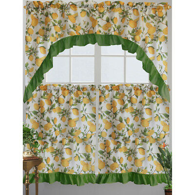 Kashi Home Cece Kitchen Curtain Swag Set, Lemon Printed Design 815634062917 | Ebay Regarding Lemon Drop Tier And Valance Window Curtain Sets (View 17 of 30)