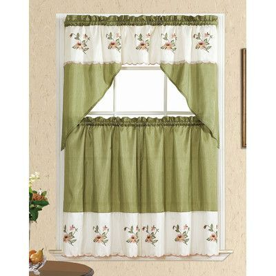 Kashi Home Sally Window Treatment Set Color: Sage | Products Intended For Grace Cinnabar 5 Piece Curtain Tier And Swag Sets (View 23 of 30)