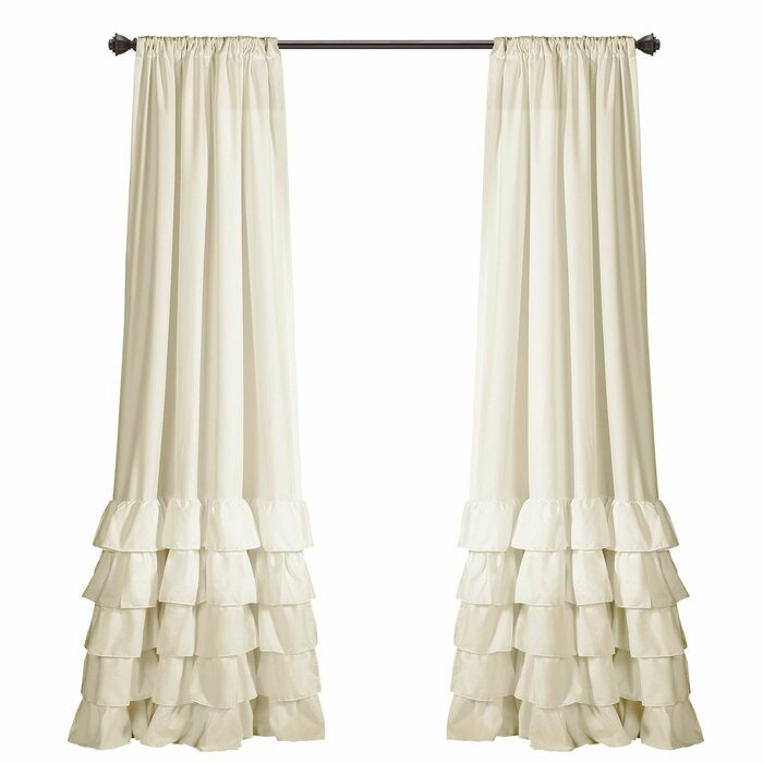 Keeley Ruffle Solid Semi Sheer Rod Pocket Curtain Panels Regarding Rod Pocket Cotton Solid Color Ruched Ruffle Kitchen Curtains (#13 of 30)