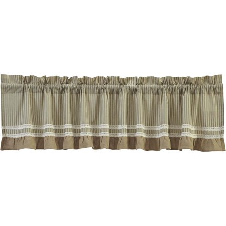 Khaki Green Tan Farmhouse Kitchen Curtains Kendra Stripe Rod Throughout Rod Pocket Cotton Striped Lace Cotton Burlap Kitchen Curtains (View 2 of 30)
