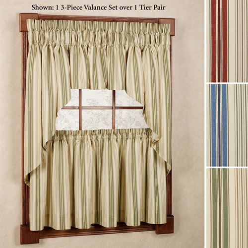 Kimberly Stripe Window Treatments With Linen Stripe Rod Pocket Sheer Kitchen Tier Sets (#22 of 46)