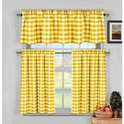 Kingston Kitchen Valance In Tiers/yellow – 15 In. W X 58 In (View 9 of 50)